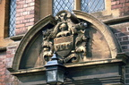Coat of arms on chapel of Laslett's almshouses: 11th April 1971 (J0903025E04)