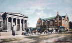 Horse Drawn Taxis outside Shirehall, Foregate Street. (J0903121E23)