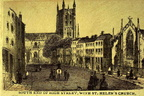 South End of High Street with St Helen's Church (Old Print); Date tbc (J1112082E06.jpg)