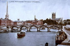 Worcester Bridge and cathedral (old post card); Early 20th Century (J1207301E13.jpg)