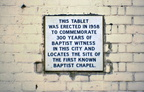Lowesmoor -- Plaque  of first Baptist chapel in Worcester; 24th January 1971 (J1304051E03.jpg)